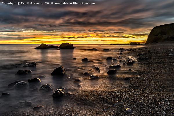 Sunrise at Seahams Chemical Beach Framed Mounted Print by Reg K Atkinson