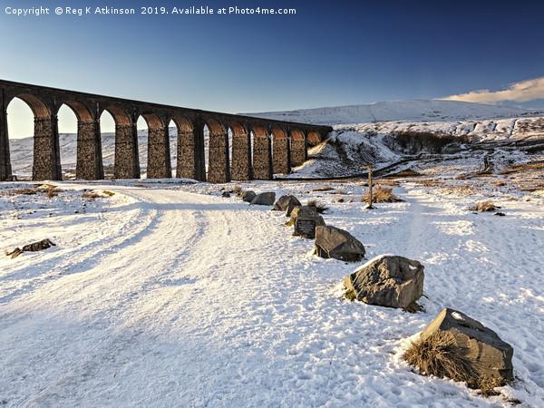 Ribblehead Viaduct - Winter Framed Mounted Print by Reg K Atkinson