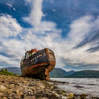 Buy canvas prints of Corpach Wreck by Nick Rowland