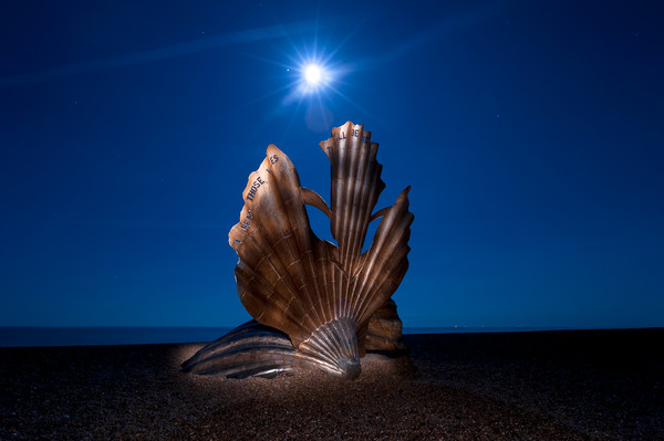 The Scallop at Night Canvas Print by Nick Rowland
