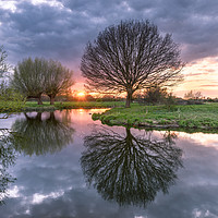 Buy canvas prints of Sunset at Dedham Vale, Suffolk and Essex Border by Nick Rowland