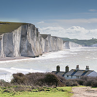 Buy canvas prints of Seven Sisters and Coastguard Cottages at Cuckmere  by Nick Rowland
