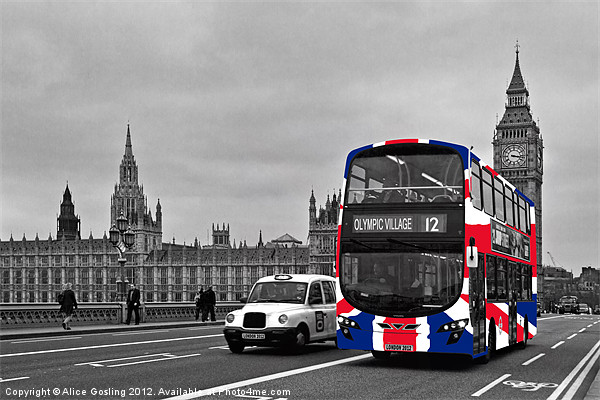 Union Jack Bus and Big Ben Canvas print by Alice Gosling