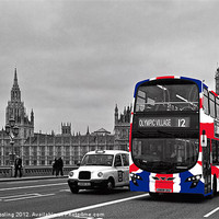 Buy canvas prints of Union Jack Bus and Big Ben by Alice Gosling