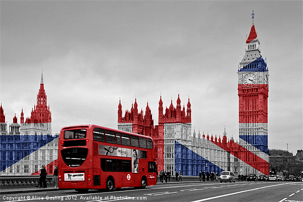 Union Jack and Red London Bus Canvas print by Alice Gosling