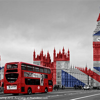 Buy canvas prints of Union Jack and Red London Bus by Alice Gosling