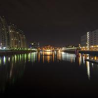 Buy canvas prints of  Media City Lights  by Brian Lloyd