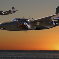Buy canvas prints of  Red Sky at Morning - 312th BG Version by Mark Donoghue