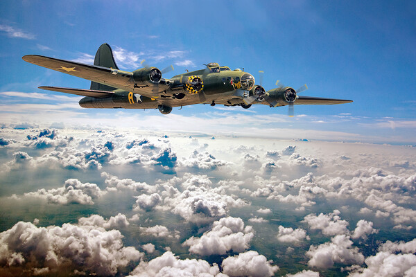 Memphis Belle flying high  Acrylic by David Stanforth
