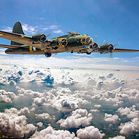 Buy canvas prints of Memphis Belle flying high  by David Stanforth