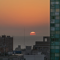 Buy canvas prints of Aerial View of Sunset at the River in Montevideo U by Daniel Ferreira-Leite