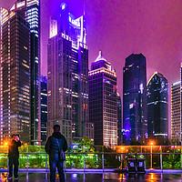 Buy canvas prints of Lujiazui District Nigth Scene, Shanghai, China by Daniel Ferreira-Leite