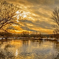 Buy canvas prints of Golden River by Garvin Hunter