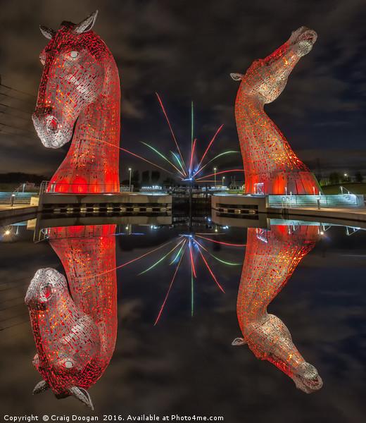 Firework Kelpies Canvas print by Craig Doogan