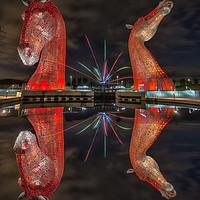 Buy canvas prints of Firework Kelpies by Craig Doogan