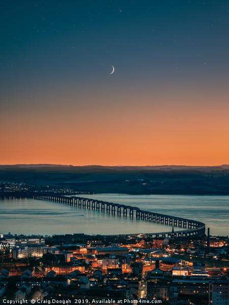 Dundee City - Tay Rail Bridge Moonscape Canvas Print by Craig Doogan