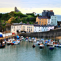Buy canvas prints of Tenby Harbour Panorama by Jeremy Hayden