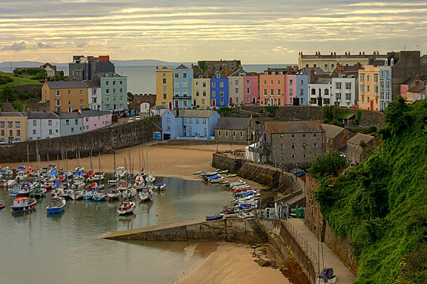 Tenby Harbour in the Morning Canvas Print by Jeremy Hayden