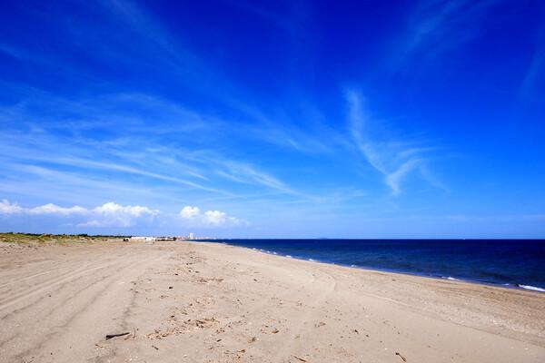 Big Blue Sky over the Mediterranean Canvas Print by Jeremy Hayden