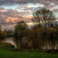 Buy canvas prints of Reflected Sunset at the Lake by Jeremy Hayden