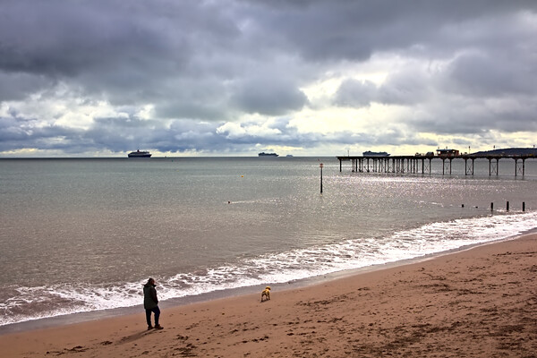Teignmouth Beach on a Cloudy October Day Canvas Print by Jeremy Hayden