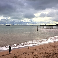 Buy canvas prints of Teignmouth Beach on a Cloudy October Day by Jeremy Hayden