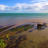 Buy canvas prints of Sea Rocks and Clouds View fron the Beach at Dawlis by Jeremy Hayden