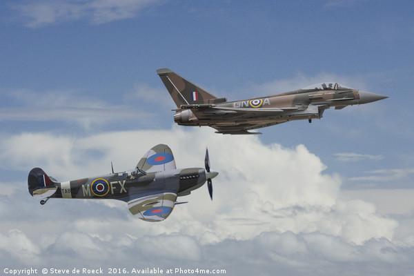 Old Friends; Spitfire & Eurofighter Typhoon Canvas Print by Steve de Roeck