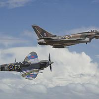 Buy canvas prints of Old Friends; Spitfire & Eurofighter Typhoon by Steve de Roeck