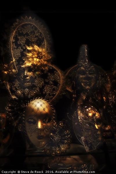 Masque; Black & Gold Canvas print by Steve de Roeck