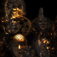 Buy canvas prints of Masque; Black & Gold by Steve de Roeck