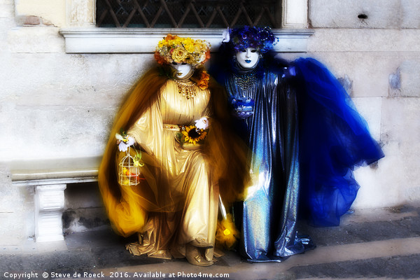 Carnaval; Blue And Gold. Canvas print by Steve de Roeck
