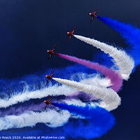 Buy canvas prints of Red Arrows Trailing Smoke In A Stormy Sky. by Steve de Roeck