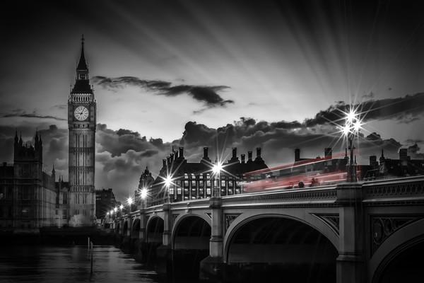 LONDON Westminster Bridge at Sunset Canvas print by Melanie Viola