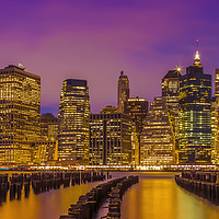 Buy canvas prints of MANHATTAN SKYLINE Bright Sunset | Panoramic by Melanie Viola
