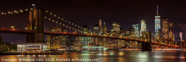 BROOKLYN BRIDGE Idyllic Nightscape | Panoramic Canvas Print by Melanie Viola