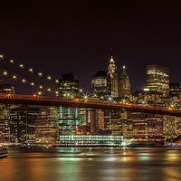Buy canvas prints of BROOKLYN BRIDGE Idyllic Nightscape | Panoramic by Melanie Viola