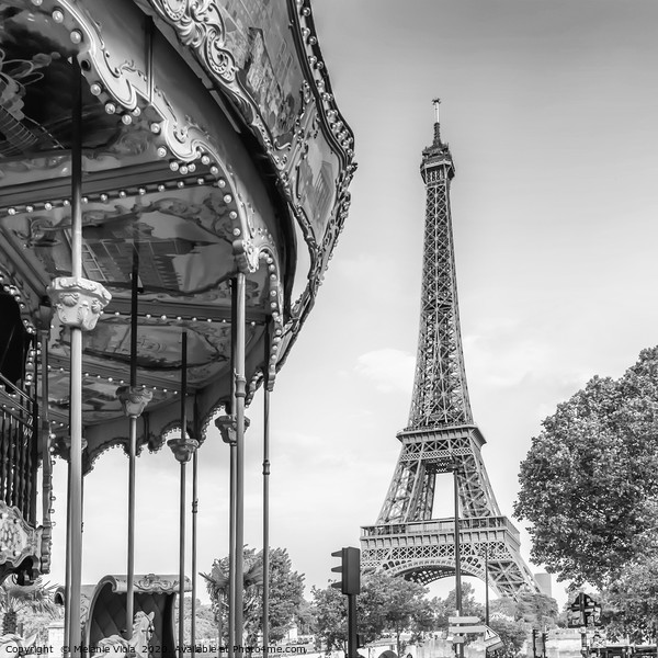 Typical Paris | monochrome Canvas Print by Melanie Viola