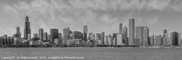 Chicago Skyline   Panorama Monochrome Framed Mounted Print by Melanie Viola