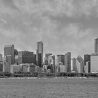 Buy canvas prints of Chicago Skyline   Panorama Monochrome by Melanie Viola