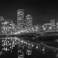 Buy canvas prints of BOSTON Harborwalk Nightscape | Monochrome by Melanie Viola
