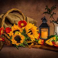 Buy canvas prints of Sunflowers still life by Klikiti Klik