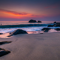 Buy canvas prints of Pastel dawn at Porthgwidden beach by Michael Brookes