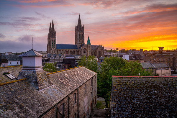 Truro cathedral at dawn Canvas print by Michael Brookes