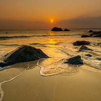 Buy canvas prints of Gold tide St Ives by Michael Brookes