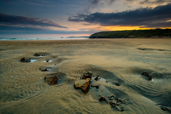 Low tide at Perranporth Canvas Print by Michael Brookes