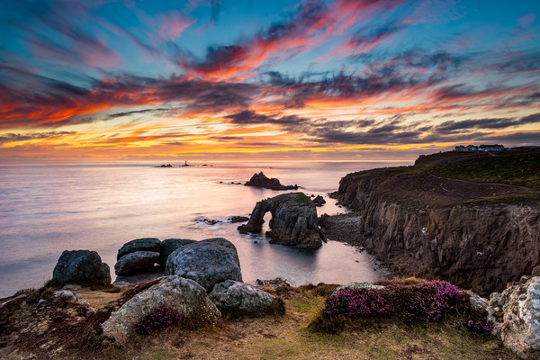Land's End Sunset Splendour Canvas print by Michael Brookes