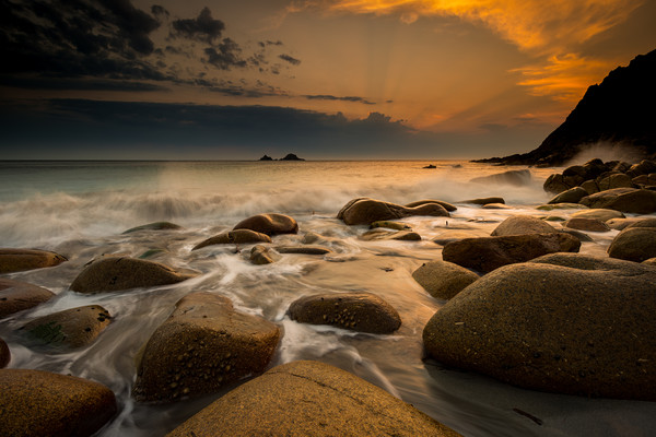 Porth Nanven sunset at low tide Canvas Print by Michael Brookes