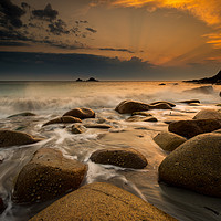 Buy canvas prints of Porth Nanven sunset at low tide by Michael Brookes