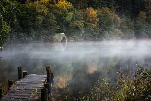 Early morning mist by the Old Boathouse  Canvas print by George Robertson